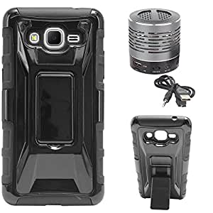 DMG Tough Polycarbonate Hard Back Defender Cover Case with Stand for Samsung Galaxy Core Prime G360H (Black) + Wireless Bluetooth Speaker with Party LED Lights