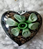 Murano Style Heart with Green Flowers Pendant + FREE RIBBON NECKLACE + GIFT BOX