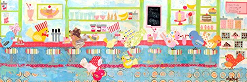 Oopsy daisy Soda Shop Birdies Stretched Canvas Wall Art by Winborg Sisters, 36 by 12-Inch