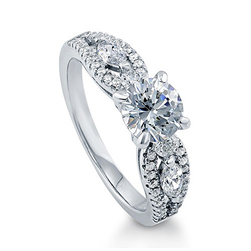 BERRICLE Sterling Silver 1.6 Carat Round Cut Swarovski Zirconia Solitaire Promise Engagement Ring