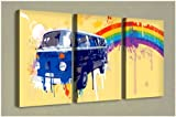 Large Triptych Wall Art Canvas Print - VW camper (Rainbow) - 3 x 60cm x 40cm - Total Length 130cm