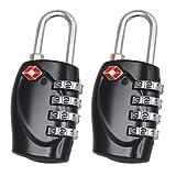 2 x TSA Security Padlock - 4-dial Combination Travel Suitcase Luggage Bag Code Lock (BLACK) - LIFETIME WARRANTY