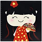 3dRose db_76679_2 Cute Kawaii Cartoon Japanese Chinese Girl Doll in Traditional Red Gold Dress and Fan-Japan China-Memory Book, 12 by 12-Inch