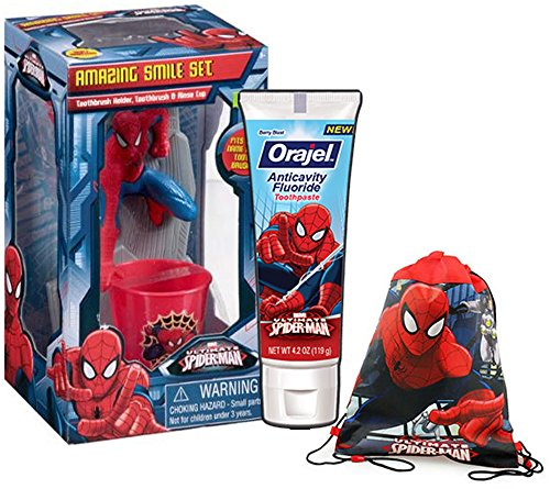 Marvel's Spider-Man Inspired 4pc Super Hero Smile Oral Hygiene Gift Set! Includes Toothbrush Holder, Toothbrush, Toothpaste & Rinse Cup! Plus Bonus Spider-Man Resuable Drawstring Tote Gift Bag!