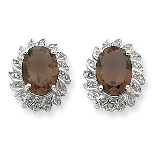 Sterling Silver Rhodium Smokey Quartz & Diamond Post Earrings