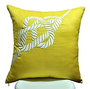 Amazon.com: Rope Pillow Cover, Decorative Pillow, Yellow Linen White Rope embroidery, Nautical ...