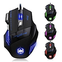 Zelotes [2015 T80 New Version] Dland Zelotes Professional Led Optical 5500 Dpi 7 Button Usb Wired Gaming Mouse Mice for Gamer Adjustable Dpi Switch Function 5500dpi/3200dpi/2400 Dpi /1600 Dpi /1000 Dpi for Pro Game Notebook Pc Laptop Computer T-80 New Update