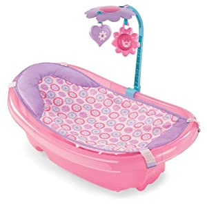 summer infant sparkle fun newborn to toddler baby tub with toy bar pink ama. Black Bedroom Furniture Sets. Home Design Ideas