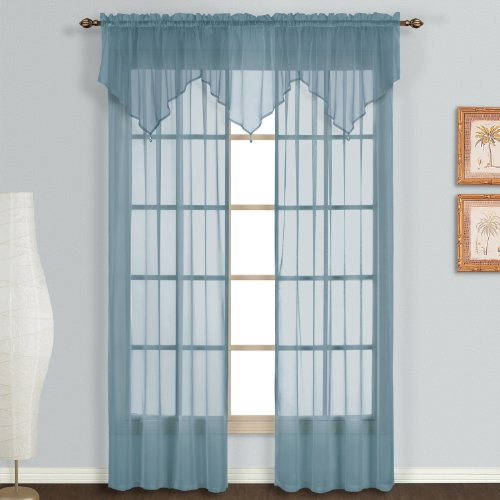 united curtain monte carlo sheer ascot valance 40 by 22 inch slate blue new ebay