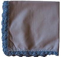 Crochet Lace Handkerchief (White with Blue Edges)