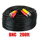 200 Feet High Quality Pre-made All-in-One BNC Video and Power Extension Cable with Connector for CCTV Security Camera (Black, 200 feet)
