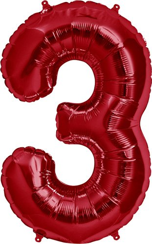 Number 3 - Red Helium Foil Balloon - 34 inch