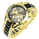 New Mens Gold Black Luxury Men Classi...