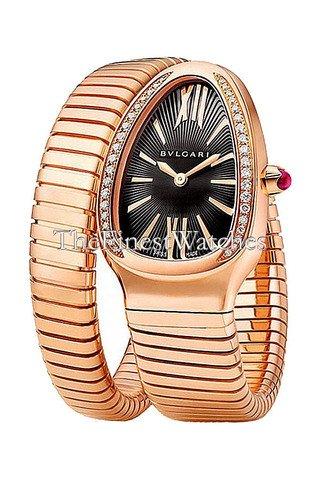 New Ladies Bvlgari Serpenti Tubogas 35mm 18K Rose Gold Diamonds Watch