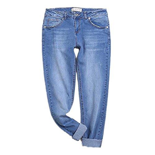 ZYQYJGF Pantaloni Slim Tasca Classic Premium Comfort Luce Distrutto Blu Denim Jeans A Gamba Dritta Vestibilità Rilassata Femminile . 36