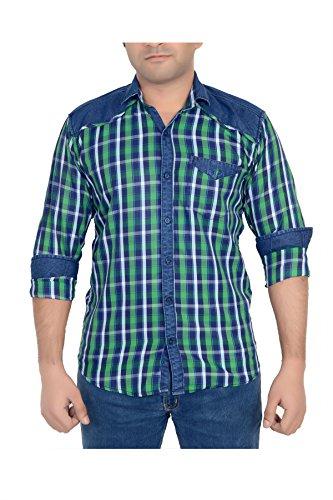 High-Hill-Mens-Green-Checkered-Denim-shirt-MLXL