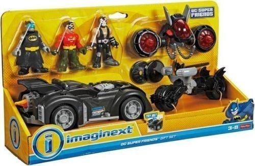 Fisher Price - DC Super Amici - Imaginext - dc super amici Regalo Set- Include Batman, Robin & Bane Mini Personaggi, 3 Veicoli e accessori