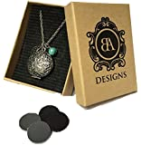 """Essential Oil Diffuser Necklace with 4 Leather Discs, Silver Pendant 18"""" Chain, Young Living Doterra Oils"""