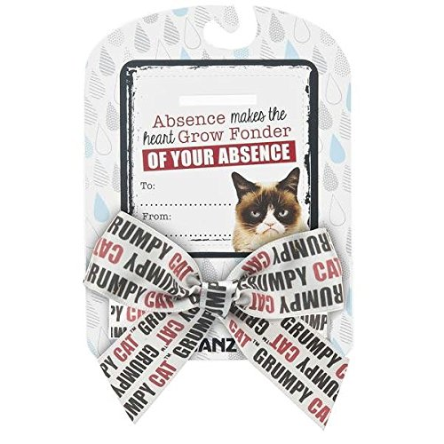 "Grumpy Cat Sentiments ""Absence Makes the Heart Grow Fonder of Your Absence"" Bow & Card - 1"