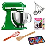 KitchenAid KSM150 Artisan 5-Quart Stand Mixer, Canopy Green + Cupcakes, Cookies & Pie, Oh, My! + Silicon Whisk + Cookie Sheet with 22 -Piece Cookie Cutter + Accessory Kit