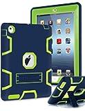 iPad 4 Case,iPad 3 Case,iPad 2 Case,TIANLI(TM) ArmorBox [Three Layer] Convertible [Heavy Duty] Rugged Hybrid Protective With KickStand Case For iPad 2/iPad 3/iPad 4 With Stylus,Navy Blue/Lemony Yellow