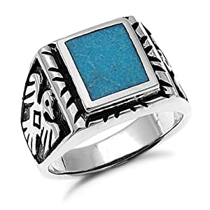 Sterling Silver Turquoise Men's Ring Sizes 9 to 14 , 12