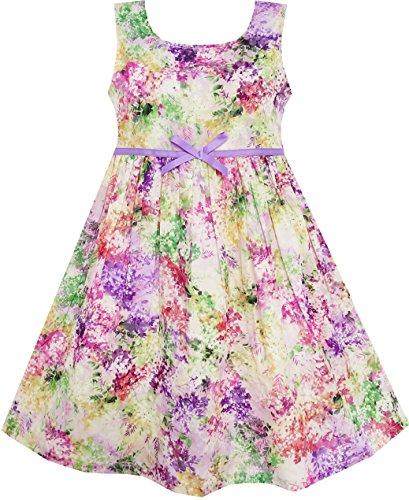 HA63 Girls Dress Blooming Flower Garden Print Sleeveless Purple Size 6 Years