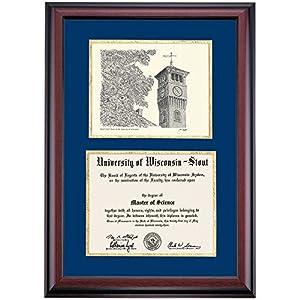 Wisconsin Stout Blue Devils Diploma Frame Blue Gold Matting Pen & Ink