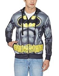 Batman Men's Fleece Sweatshirt (8903346485017_BM1DHM193_L_Black)