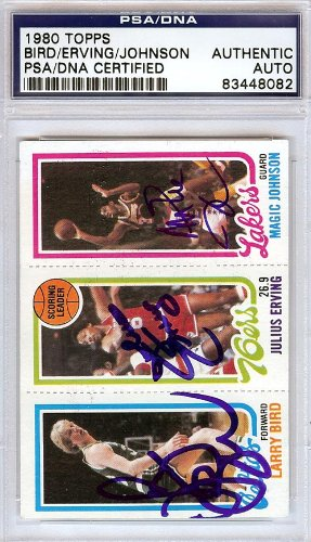 Larry Bird, Julius Erving & Magic Johnson Autographed 1980 Topps Rookie Card PSA/DNA #83448082 2008 donruss sports legends 114 hope solo women s soccer cards rookie card