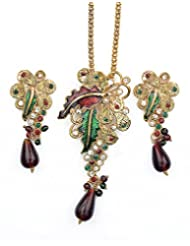 Asian Pearls & Jewels Multi Color Pendant Set - B00NME5ORA