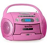 Auna Boomgirl mobiler MP3-CD-Player Kassettenplayer Rekorder Lautsprecher Ghettoblaster (USB-Schnittstelle, SD-Slot, UKW-Radio, Kinder Bedienungsfreundlich) rosa