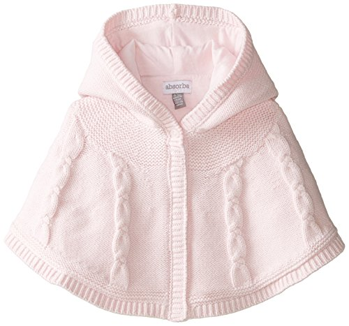 ABSORBA Baby Girls Newborn Cable Sweater Poncho Pink 3 6