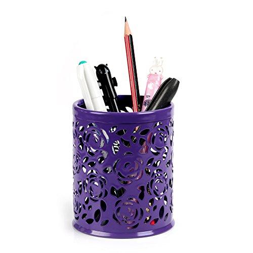 [YOKIRIN Hollow Rose Flower Pattern Metal Pen Pencil Pot Holder Organizer - Purple] (Postage Stamp Costume)