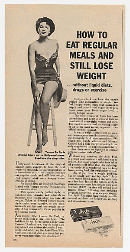 1962 Yvonne De Carlo Ayds Weight Loss Print Ad (3540)