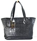 100% BELLY SKIN GENUINE CROCODILE LEATHER HANDBAG BAG TOTE HOBO BASKET LARGE HUGE SHINY BLACK NEW EXTREME SOFT