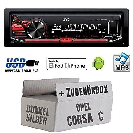 OPEL CORSA C Gris-JVC KD X230E-Kit de montage autoradio USB Lecteur MP3-