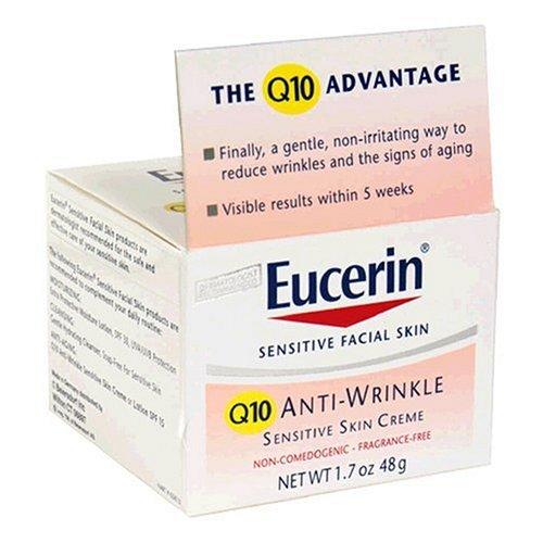 Eucerin Sensitive Facial Skin Q10 Anti-Wrinkle Sensitive Skin Creme, 1.7-Ounce Jars (Pack of 2)
