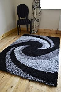 Grey Black Silver Modern Thick Shaggy Rugs Large Small Runners Soft Shag Pile Rug from RUGS 4 HOME