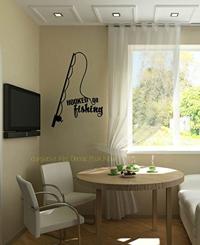 Wall Decor Plus More WDPM3504 Hooked on Fishing with Pole Wall Decal Lettering Vinyl Sticker Quote, 23x16, Black (Fishing Wall Decals compare prices)