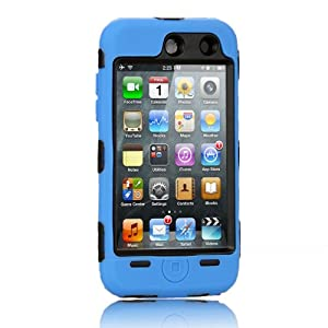NTK Premium For iTouch iPod Touch 4 4G Silicone Case with Hard Shell Inside Case With Built In Touch Screen Protector Film 2 Layer Case -Blue