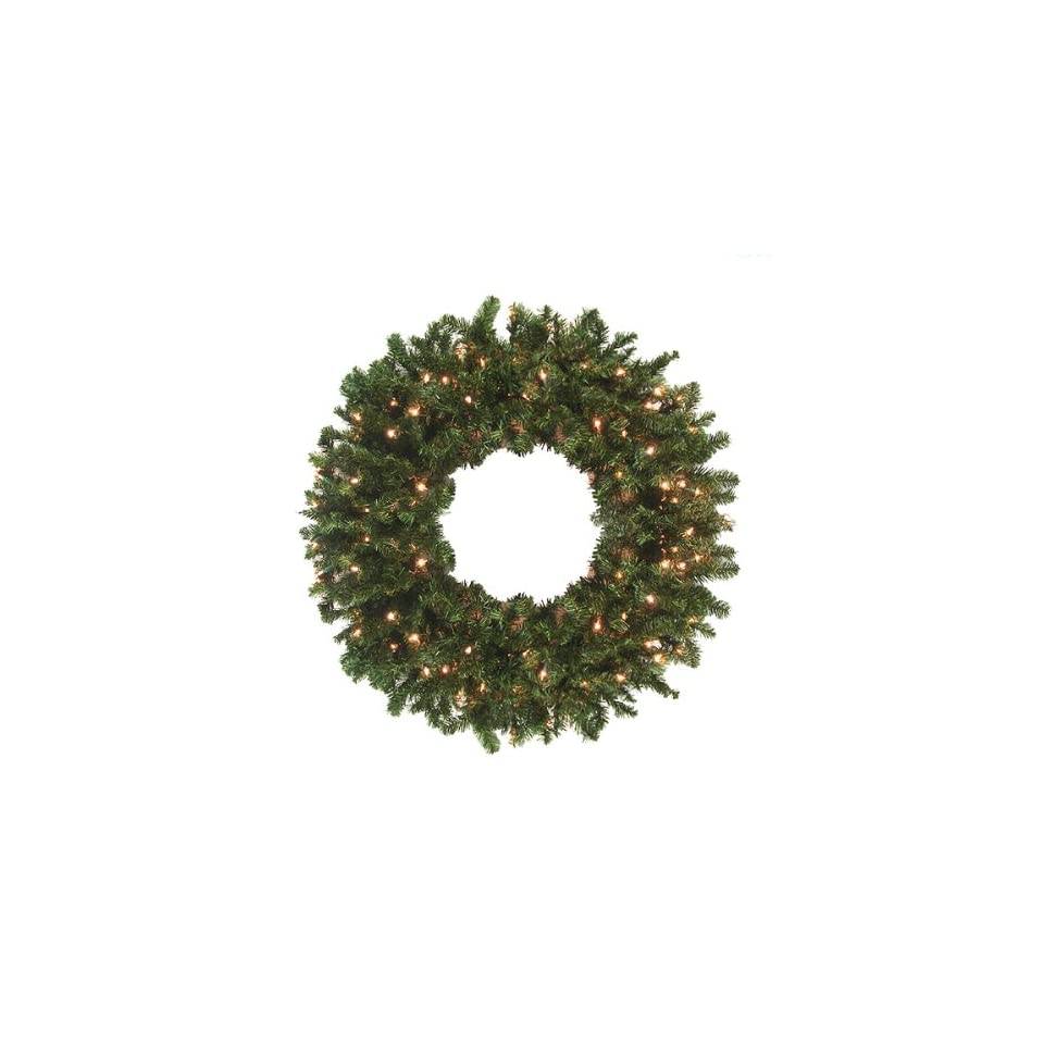 36' Pre Lit Canadian Pine Artificial Christmas Wreath   Clear Lights