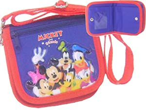 Mickey and Friends Blue Wallet Purse W/shoulder Strap