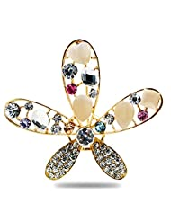Silver Shoppee The Dazzled Star 21K Yellow Gold Plated Cubic Zirconia And Opal Studded Alloy Brooch
