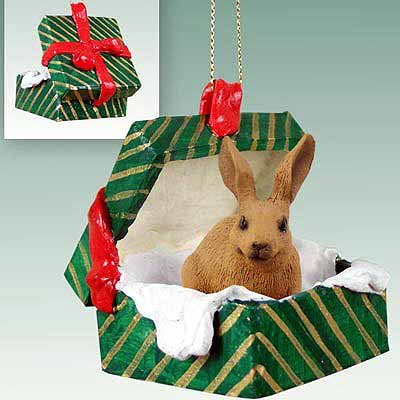 Conversation Concepts Rabbit Brown Gift Box Green Ornament