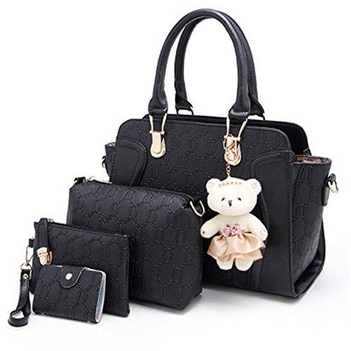 women-4-pieces-leather-handbags-clutches-shoulder-bag-wallet-card-bag-set-black