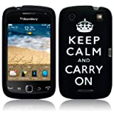 BlackBerry Curve 9380 Keep Calm & Carry On Lasered Silicone Skin Case / Cover / Shell - Black/Whiteby TERRAPIN