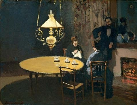 Oil painting 'An Interior After Diner,1869 By Claude Monet' printing on high quality polyster Canvas , 18x23 inch / 46x59 cm ,the best Home Office decor and Home decoration and Gifts is this Amazing Art Decorative Canvas Prints
