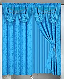 Luxury Jacquard Blackout Curtains/panels/drapes/window Set with Attached Valance Backing Sheer and Tieback (Blue)