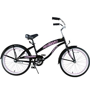 Amazoncom  Kids Bike Girls 20quot Beach Cruiser Black And Pink Bicycle